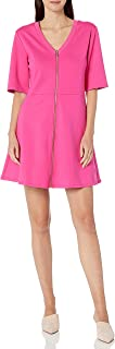 A|X Armani Exchange womens T-Shirt Fit and Flare Mini Dress with Zipper Front Casual Dress