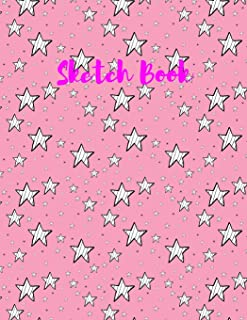 """Sketch Book: with White Stars on a Pink Background on this Blank, Large 8.5""""x 11"""" 100 page Personal Artist Sketchbook, Scr..."""