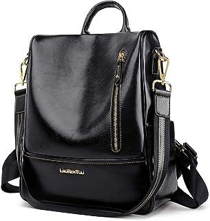 حقيبة ظهر صغيرة من جلد البقر من LAORENTOU للنساء حقائب ظهر عصرية عصرية قابلة للتحويل حقيبة ظهر سوداء