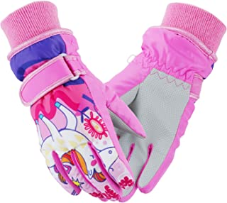 Weanas Kids Ski Gloves Waterproof Winter Warm Mittens Camo Print Snowboard Gloves for Boys Girls