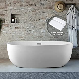 Bathtub Freestanding BATH MASTER Acrylic Contemporary Bathroom Soaking Tub with Chrome Overflow and Drain Easy to Install cUPC Certified (67