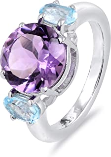 Purple Amethyst 4.41 Ct Round Brilliant Shape 925 Sterling Silver 3-Stone Ring Easter Presents For Girls And Women By Orch...