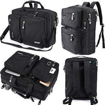 FreeBiz Laptop Backpack Messenger Bag-Hybrid Briefcase Bookbag Rucksack with Handle and Shoulder Strap Fits Up to 18.4 Inch Gaming Laptop (18.4 inches, Black)