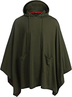 COOFANDY Unisex Casual Hooded Poncho Cape Cloak Fashion Coat Hoodie Pullover with Pocket