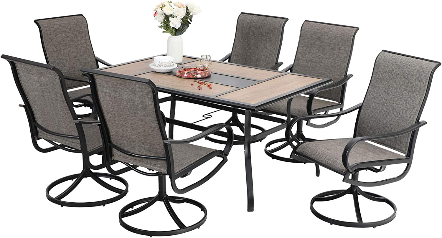 Sophia & William Patio Dining Set 7 Pieces Outdoor Furniture Table and Chairs Metal, 6 x Swivel Dining Chairs Textilene with 1 Wood Like Umbrella Table for Lawn Pool Garden Porch