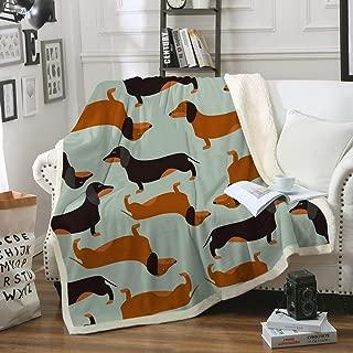 Sleepwish Dachshund Sausage Sherpa Fleece Blanket for Kids Adults Cartoon Puppy Colorful Plush Throw Blanket Cute Dog Lover Blanket Gifts,Green,Twin (60