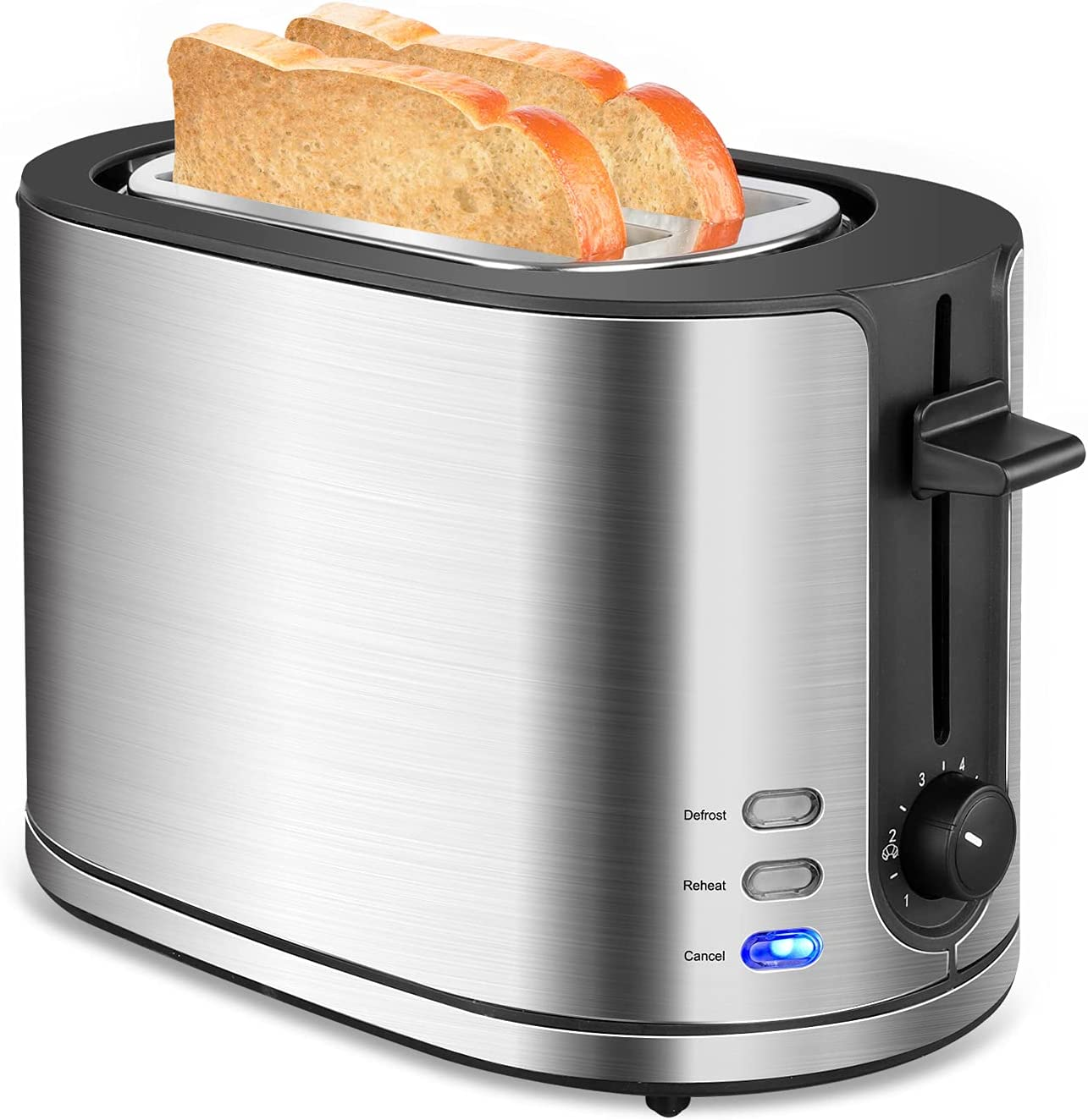 Toaster 2 Slice Extra Wide Slot, FRESKO Stainless Steel Bread Toasters with Warming Rack, Small Toaster with 6 Bread Shade Settings, Reheat/Defrost, Cancel, Removable Crumb Tray for Bread, 850W