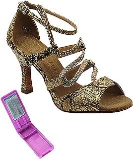 Very Fine Ballroom Latin Tango Salsa Dance Shoes for Women Sera7017 2.5 Inch Heel + Foldable Brush Bundle