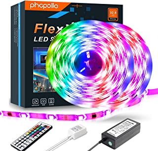 PHOPOLLO LED Strip Lights 5050 Color Changing 600LEDs 32.8ft Supper Brightness Waterproof Flexible LED Lighting Kit with 44 Key IR Remote Controller and 12V Power Supply for Room, Bedroom