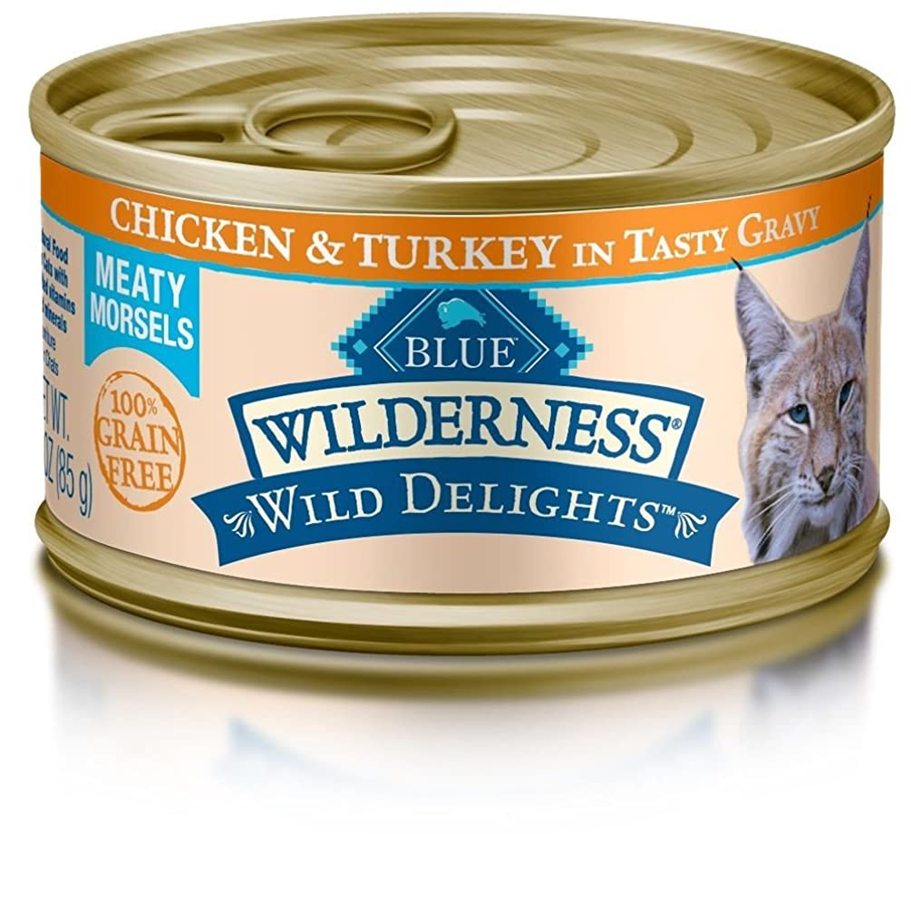 Blue Buffalo Wilderness Wild Delights Chicken & Turkey in Gravy Canned Adult Cat Food, 3 oz. Case of 24