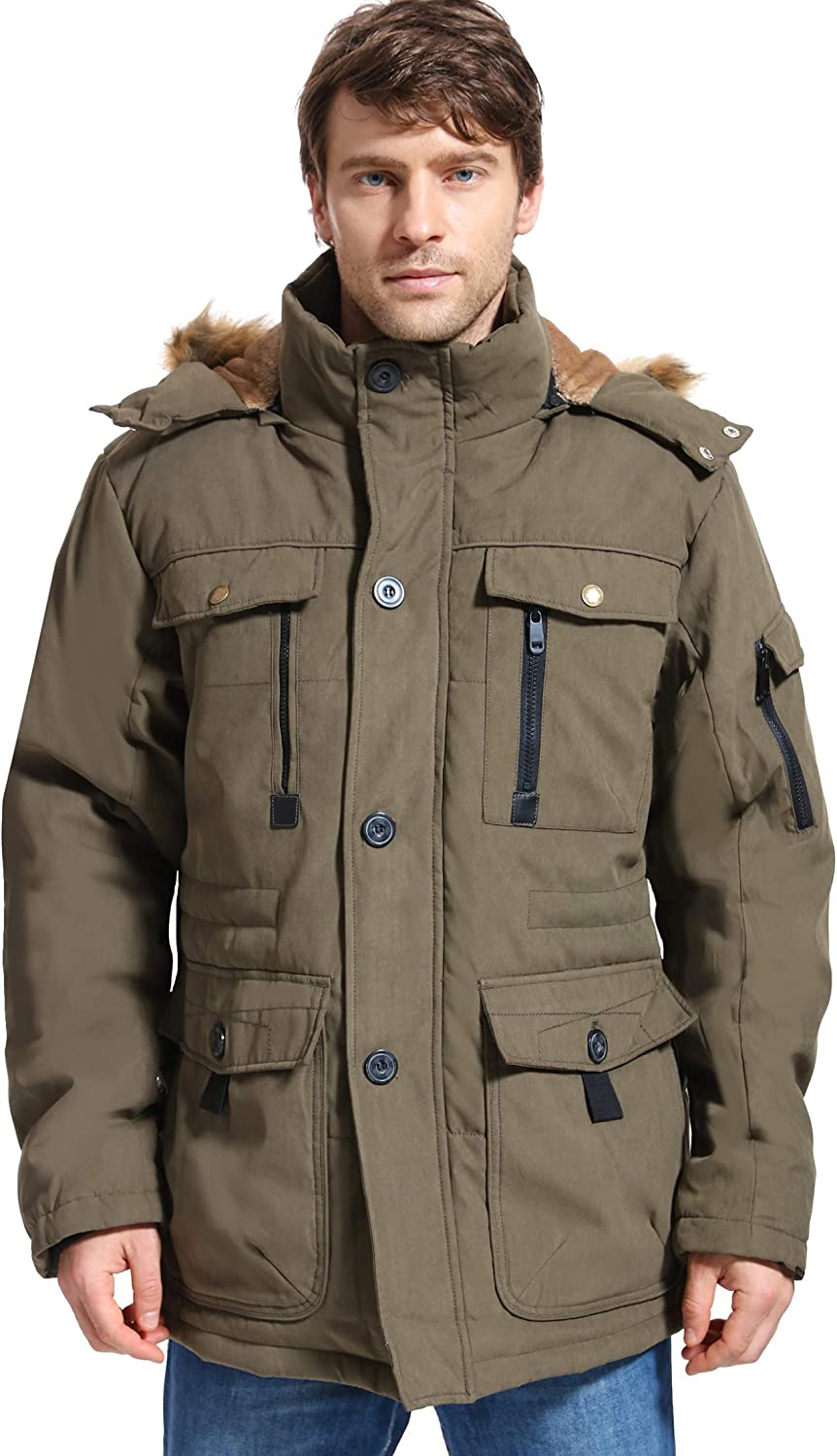 Mens Winter Parka Insulated Warm Quality Japan's largest assortment inspection Jacket Faux Fur Military Coat w