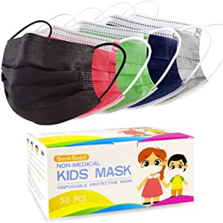 Kids Disposable Face Masks, Children 3-Ply Breathable Safety Masks, Protective Mask with Elastic Earloops for Boys Girls