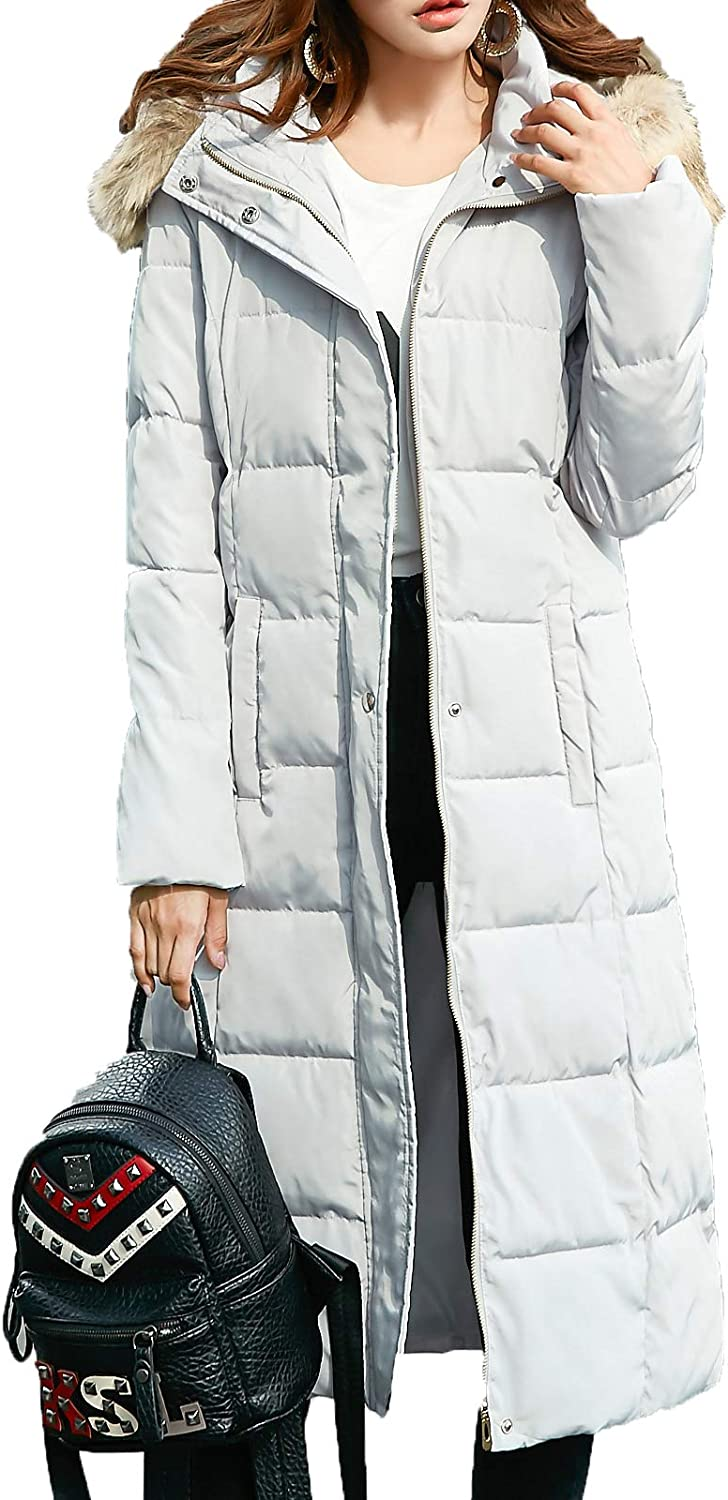 Flygo Women Winter Warm Faux Fur Hooded Down Quilted Puffer Jacket Parka Coat