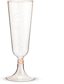 50 Plastic Rose Gold Glittered Champagne Flutes | 6 oz. Clear Hard Disposable Party & Wedding Cups | Premium Heavy Duty Fancy Toasting Glasses (50-Pack) Rose Gold Glitter by Bloomingoods