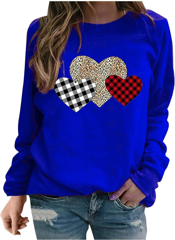 Women's Long Sleeve Crewneck Sweatshirt Leopard Plaid Heart Print Graphic Pullover Shirt Fall Winter Casual Tops