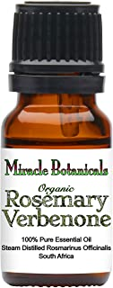 Miracle Botanicals Organic Rosemary Verbenone Essential Oil - 100% Pure Rosmarinus Officinalis Verbenone - Therapeutic Grade 10ml