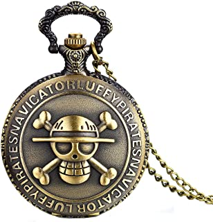 JewelryWe Antique Bronze Anime Skull One Piece Style Quartz Pocket Watch Necklace with 31.5 Inch Chain (with Gift Bag)