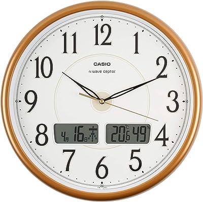 CASIO(カシオ) 掛け時計 電波 ブラウン 直径34cm アナログ 温度 湿度 カレンダー 表示 掛け具セット