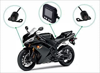 """Sykik Rider CR1, Dual Camera System for Motorcycles and Scooters. Front and Back Camera with Motion Activated Start and Stop. with 2"""" Monitor"""