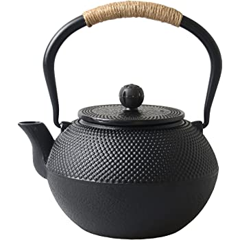 Hwagui - Best Cast Iron Teapot With Infuser For Varieties Of Loose Leaf Tea, Tea Bags, Large Black Tea Kettle 1200ml/41oz