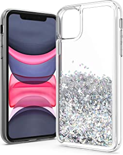 UNC Pro Quicksand Glitter Cell Phone Case for iPhone 11, TPU Liquid Flowing Sparkle Hybrid Case Shockproof Bumper Anti-Scratch Cover, Silver