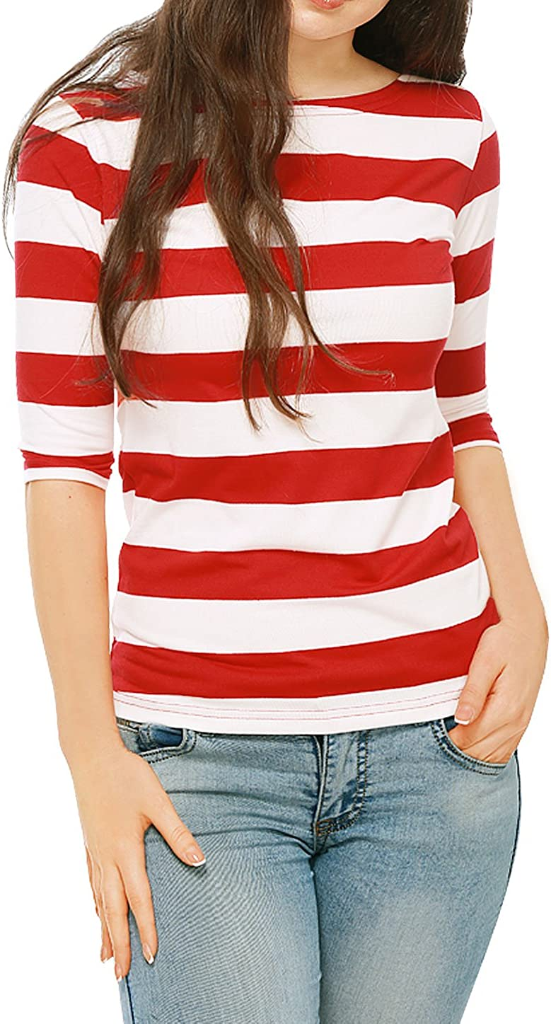 Allegra K Women's Elbow Sleeves T-Shirt Top Casual Basic Boat Neck Slim Fit Tee