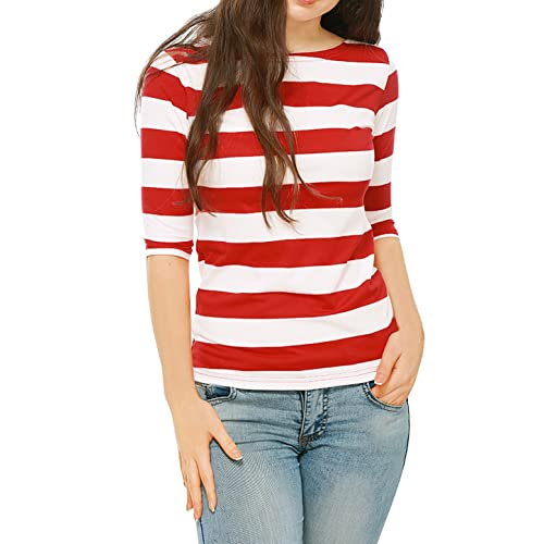 23e2f2b09 Allegra K Women's Elbow Sleeves Boat Neck Slim Fit Striped Top