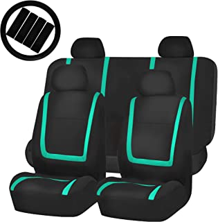 FH Group FB032114 Unique Flat Cloth Full Set Car Seat Covers, Mint/Black w. Silicone Steering Wheel Cover- Fit Most Car, Truck, SUV, or Van