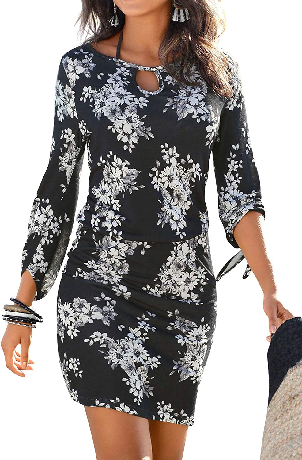 Goodday Women Lace up Sleeve Cut Out Crew Neck Floral Print Bodycon Pencil Dress