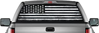 EZ CUT PRO Black American Flag Perforated Vinyl Decal Truck Rear Window Sticker 65