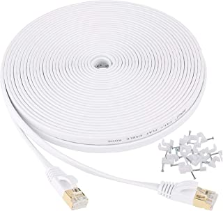 Jadaol Cat 7 Ethernet Cable 50 ft Shielded, Solid Flat Internet Network Computer patch cord, faster than Cat5e/cat6 networ...