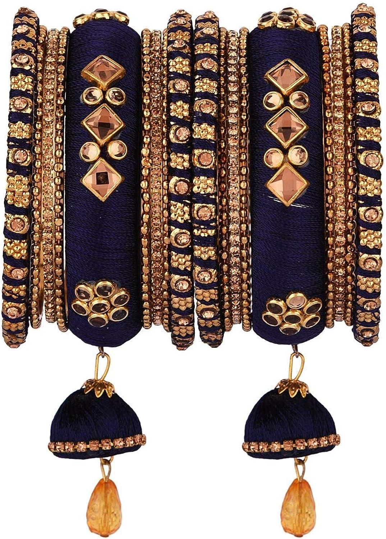 Efulgenz Indian Bangle Set CZ Crystal Kundan Silk Thread Tassels Bracelets Bangle Jewelry for Women Girls (Blue, 2.25)