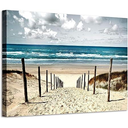 Picture Frames Wall Art XXL 100x40 Beach Sand Sea Art Print Canvas from Fleece