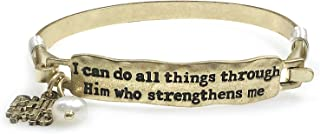 Wonderent I CAN DO All Things Bar Christian Bangle Bracelet with Wire Design and Phil 4:13