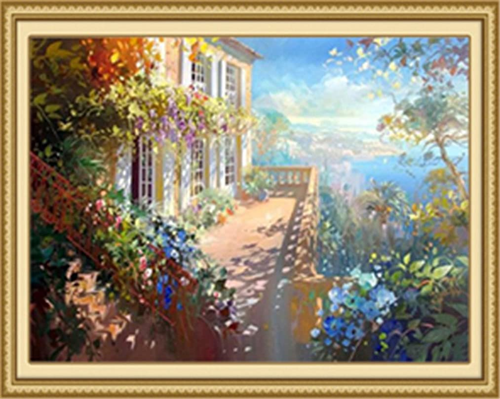 Diy Oil Painting Paint by Number Kit for Adults Beginner 16x20 inch - Sunny Flower House, Drawing with Brushes Christmas Decor Decorations Gifts