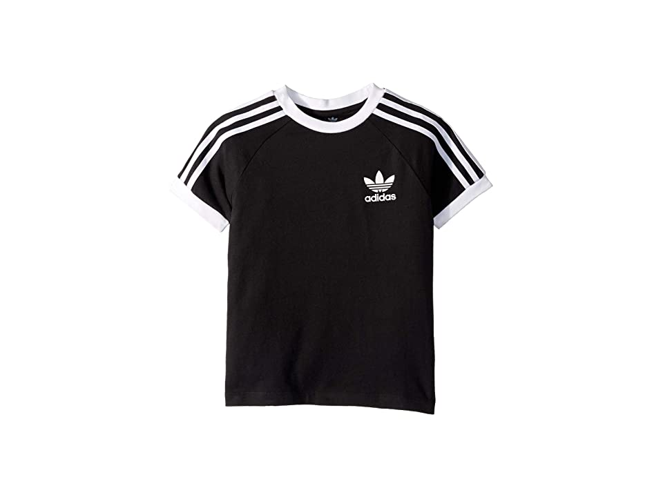 Image of adidas Originals Kids 3-Stripes Tee (Little Kids/Big Kids) (Black/White) Boy's T Shirt