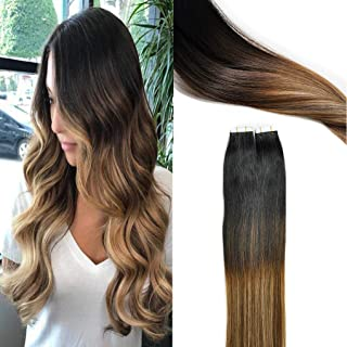 KOCONI Tape In Hair Extensions Remy Human Hair Extensions Balayage Ombre Brown to Blonde Highlights Hair Extension Tape (14