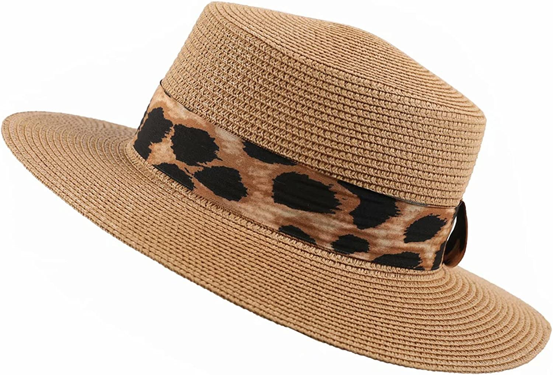 Women Summer Straw Hat, Wide Brim Leopard Print Sun Hat Fedora for for Travel Beach UV Protection