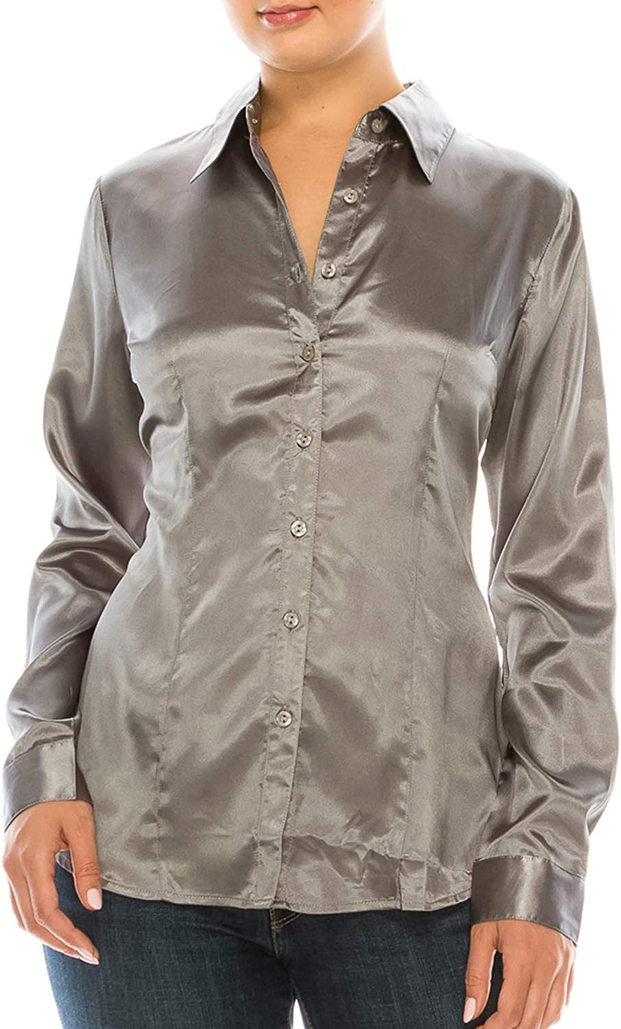 MAYSIX APPAREL Long Sleeve Satin Office Collar Down Forma Max 46% OFF Button Soldering