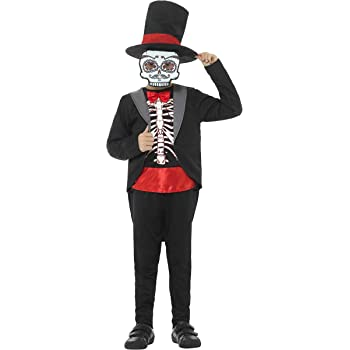 Smiffys Disfraz de niño del día de Muertos, Negro, con Chaqueta ...