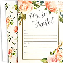25 Floral Party Invitations with Envelopes. Blank, Fill-in Invites. Great for Bridal Showers, Girl Baby Showers, Graduation, Bachelorette, Sweet 16, Rehearsal Dinner, Birthdays, Weddings