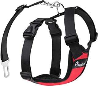 Pawaboo Dog Safety Vest Harness, Pet Car Harness Vehicle Seat Belt with Adjustable Strap and Buckle Clip, Easy Control for Driving Traveling Safety for Small Medium Dogs Cats, Large, RED