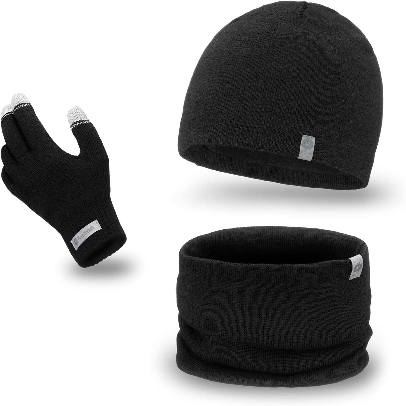 | 100/% Acryl Handschuhe mit Touchscreen-Funktion Handschuhe, M/ütze, Loop-Schal PaMaMi Herren Winter-Set 3-teilig Atmungsaktive M/ütze und w/ärmender Loop-Schal in Strickoptik in 5 Farben