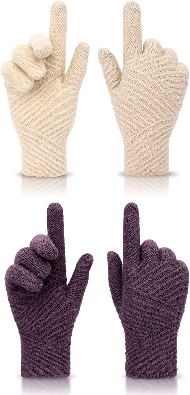 ThunderCloud Warm Winter Screen Touch Sensitive Stretch Knitted Gloves for Women, 2 Pairs