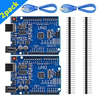 HUKER UNO R3 ATmega328P CH340 Development Board 2pack Compatible Arduino UNO R3 Arduino IDE Develope Kit Microcontroller with USB Cable Straight Pin Header 2.54mm Pitch Robot Parts