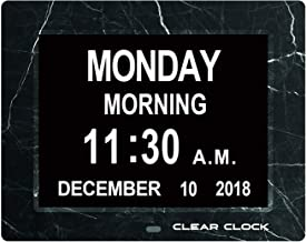 Clear Clock [Newest Version] Extra Large Digital Memory Loss Calendar Day Clock With Optional Day Cycle + Alarm Perfect For Seniors + Impaired Vision Dementia Clock (Black Marble)