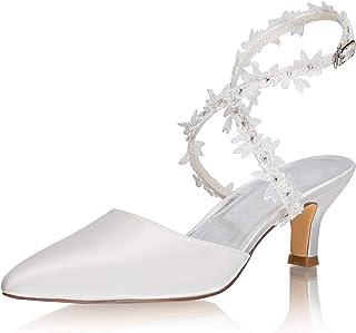 JIAJIA 5354A Chaussures de mariée à bout fermé et talon aiguille en satin 5,6 cm