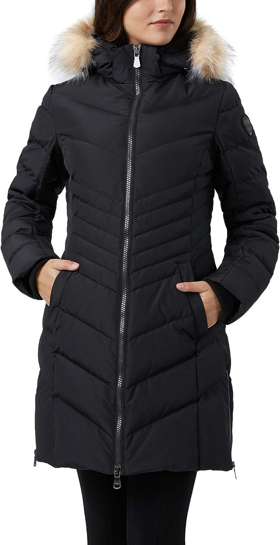 Pajar Women's Queens Chevron Down Fill Fur Trim Hooded Puffer Coat Parka