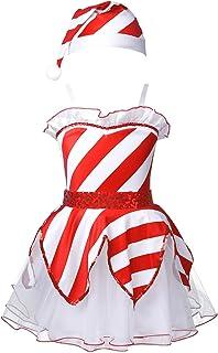 Aiihoo Kids Girls Christmas Outfit Spaghetti Straps Strips Ruffle Hem Mesh with Hat Set Tutu Skirt for Theme Party