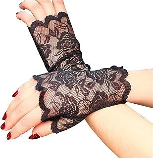 BESTOYARD Women Lace Fingerless Gloves Half Finger Bridal Gloves UV Protection Fingerless Gloves Sunproof Gloves (Black)